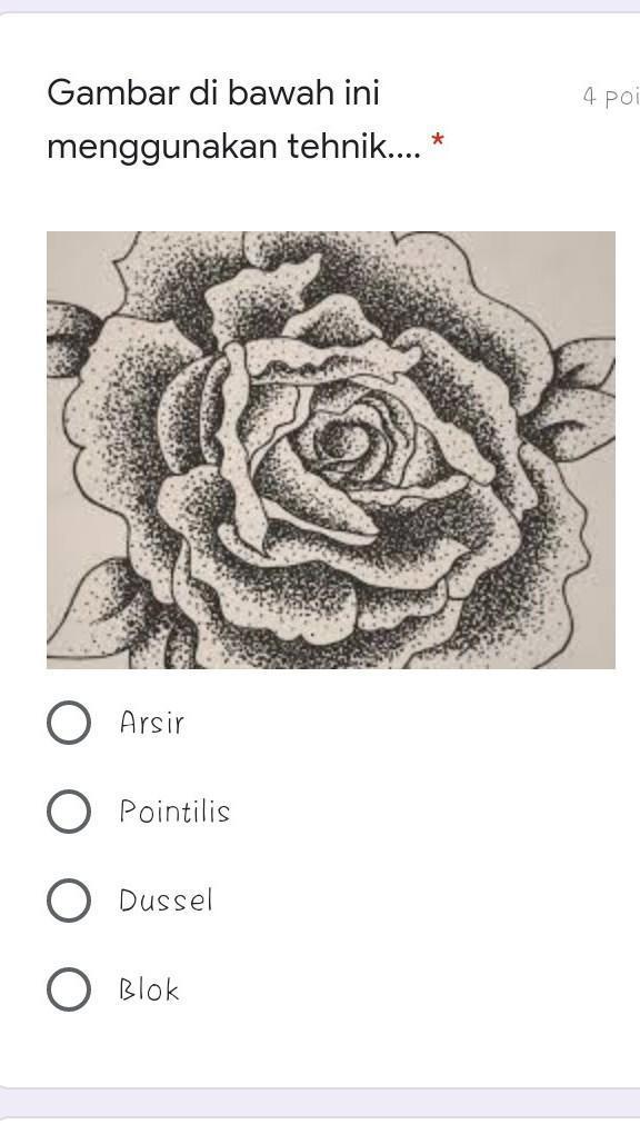 Gambar Pointilis Bunga Cari