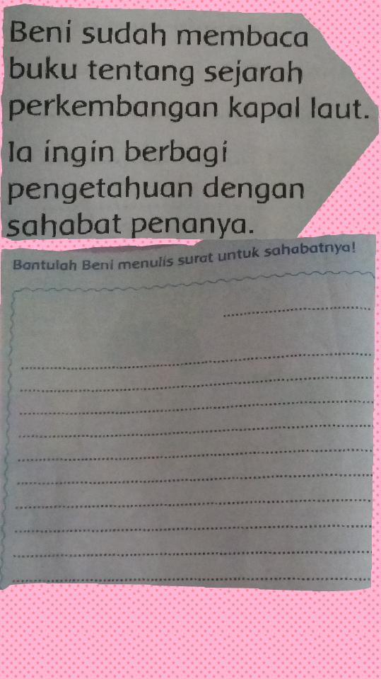 Bantu Buat Surat Untuk Sahabat Pena Doooong Yg Panjang Ya