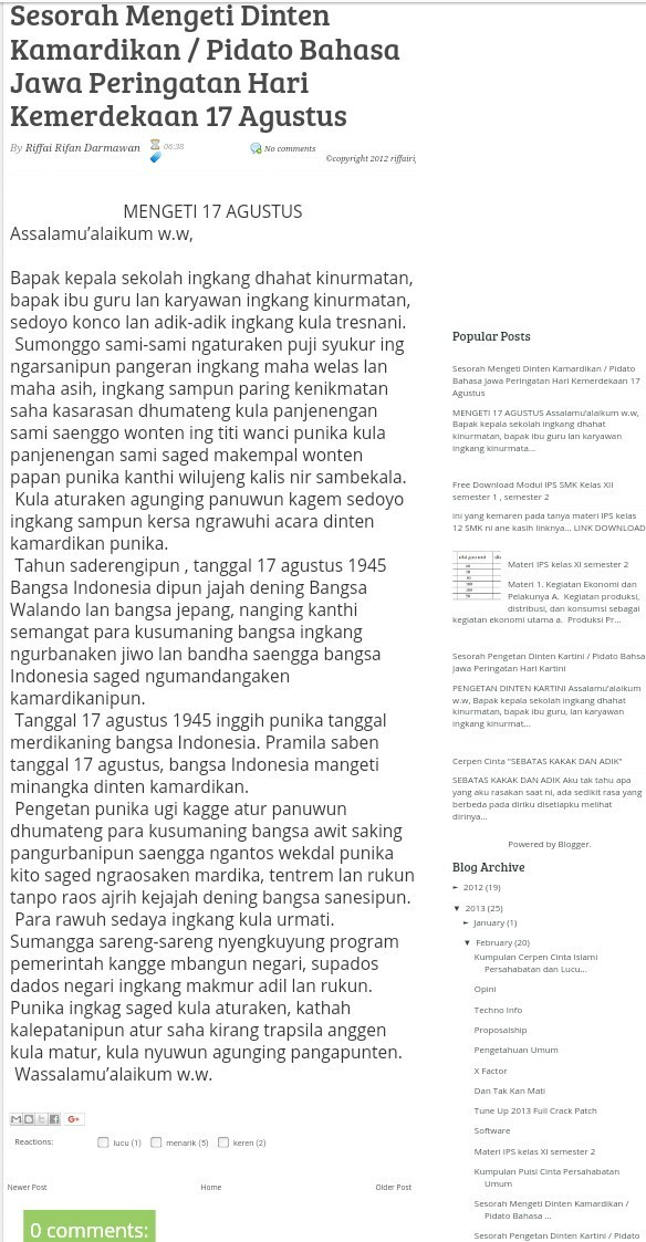 Gawea Tuladha Cengkorongan Pidhato Kanthi Tema Mengeti Dina