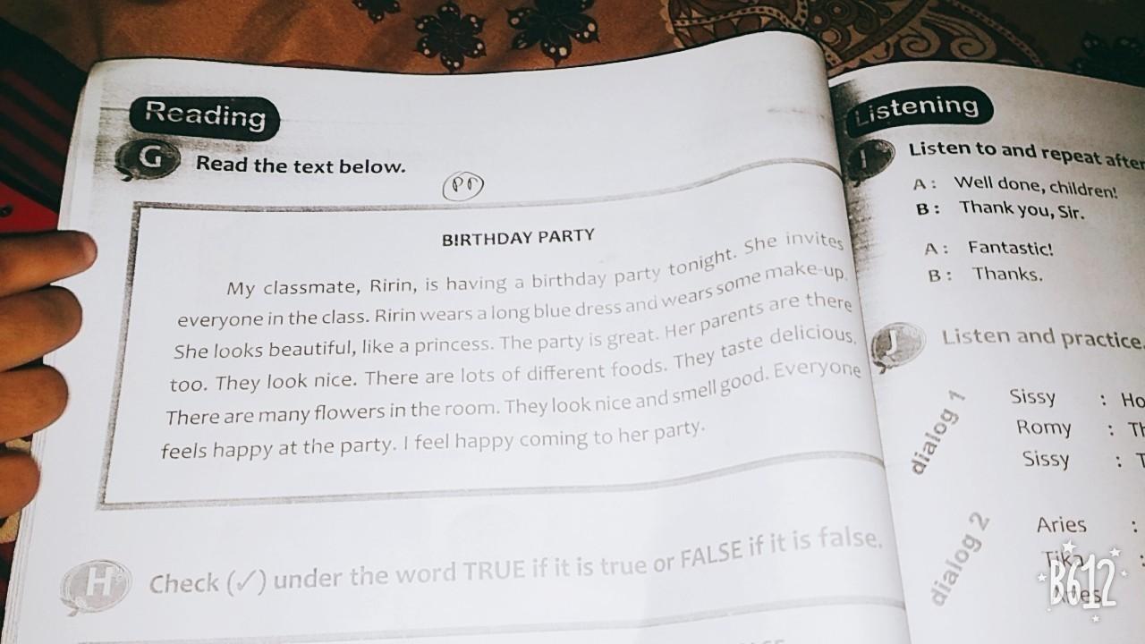 Apa Bahasa Indonesia Nya My Classmate Ririn Is Having A Birthday Party Tonight Brainly Co Id