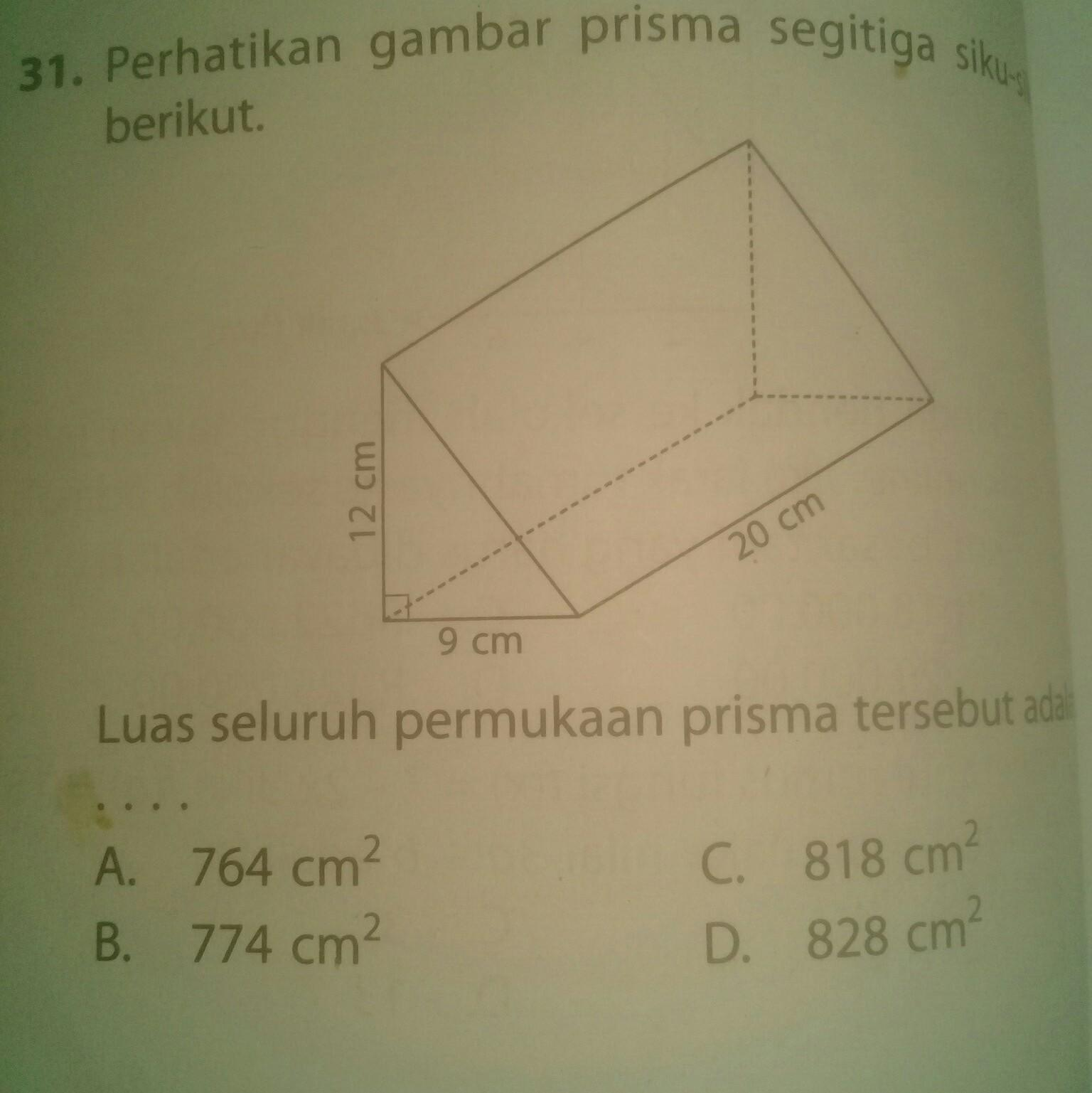 Perhatikan gambar prisma segitiga siku-siku berikut luas ...