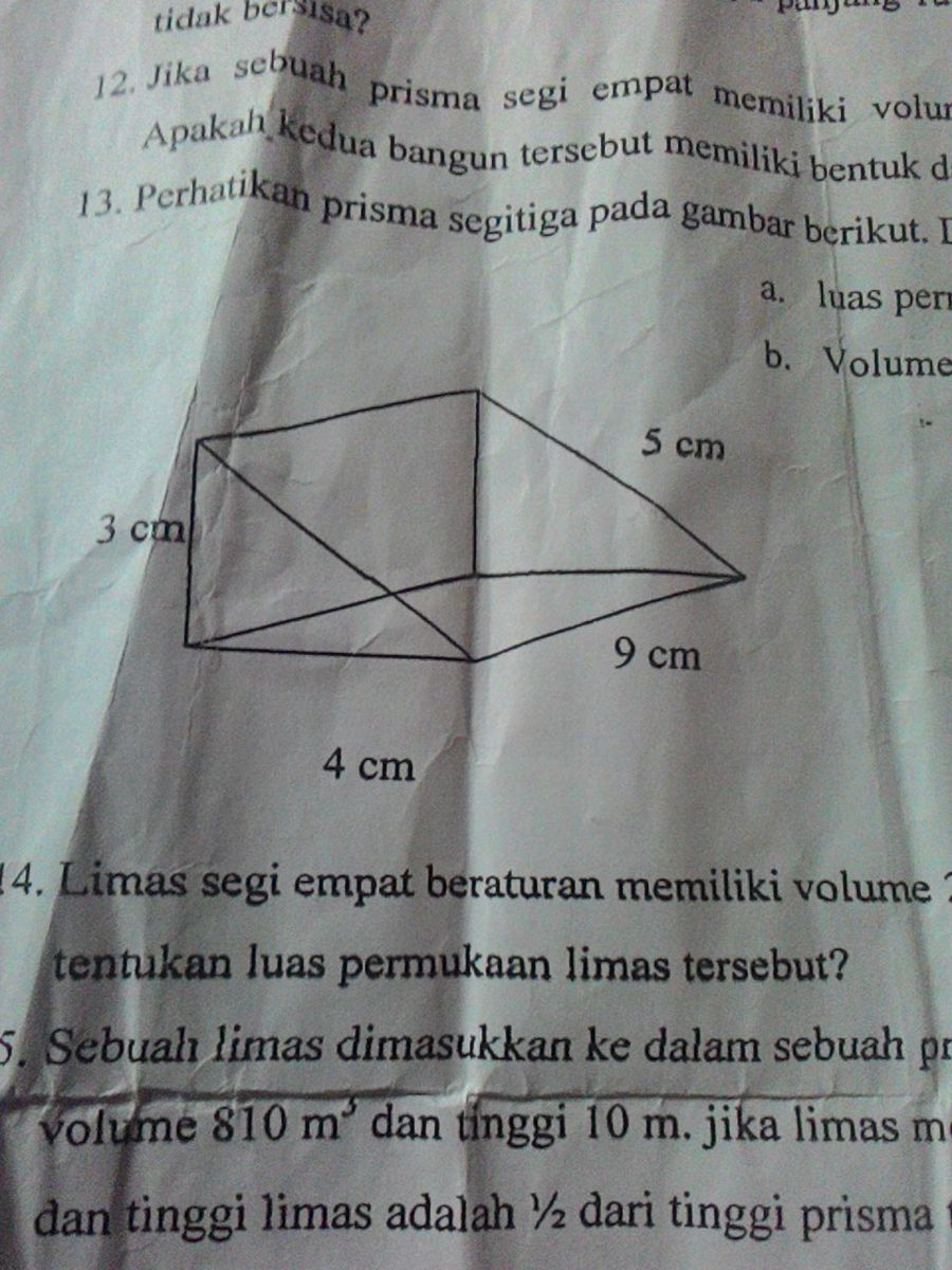 perhatikan prisma segitiga pada gambar berikut. dari ...