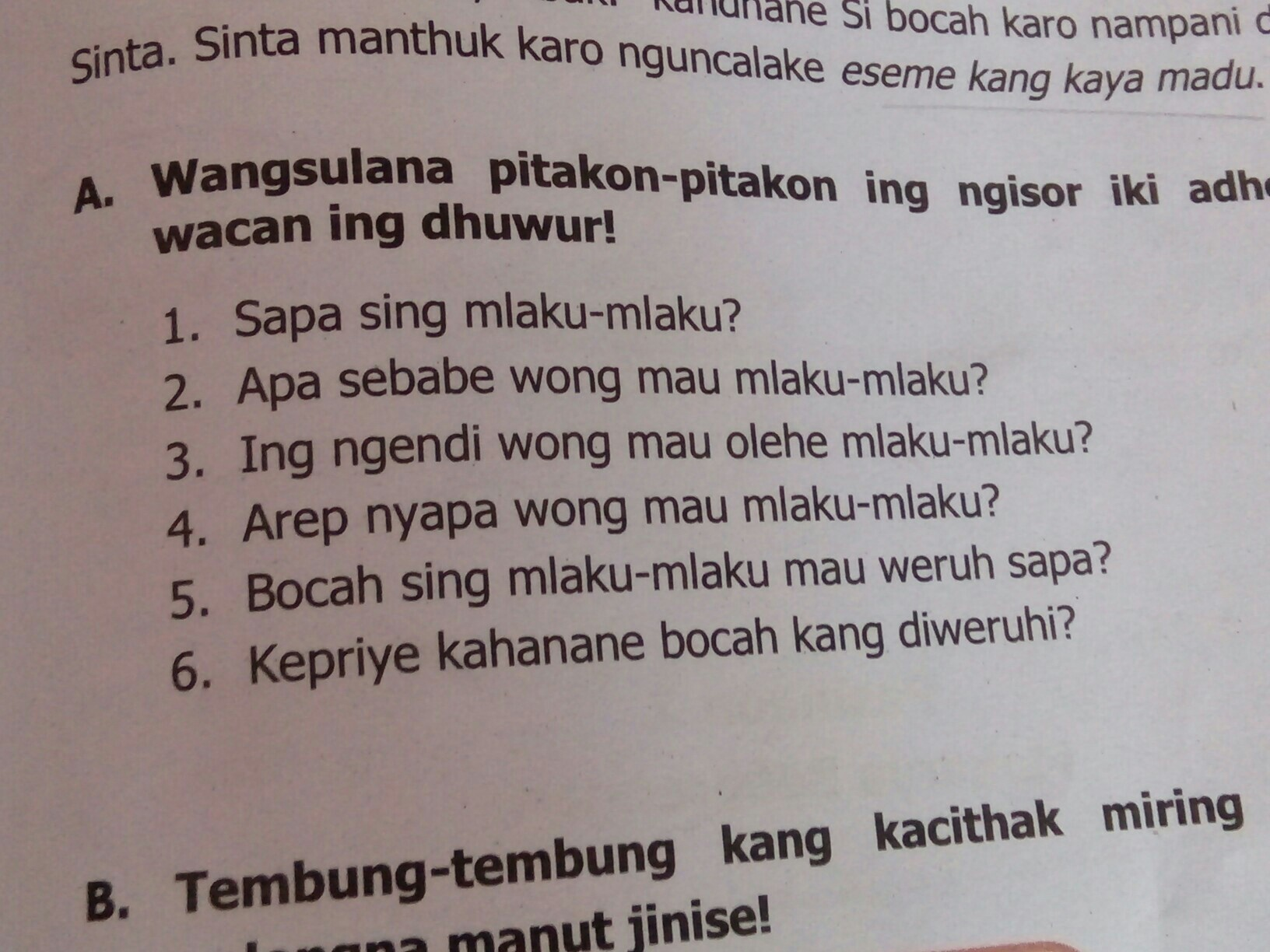 Itu Dibuku Bahasa Jawa Tantri Basa Kelas 5 Hal 97 Aku Nanya No 2 Sama 3 Ya Plis Entar Kalo Brainly Co Id