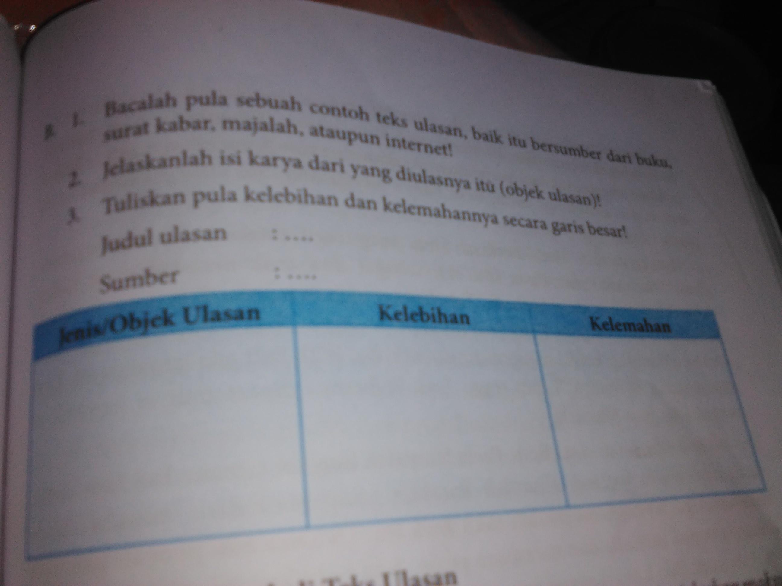 B. 1. Bacalah pula sebuah contoh teks ulasan, baik itu