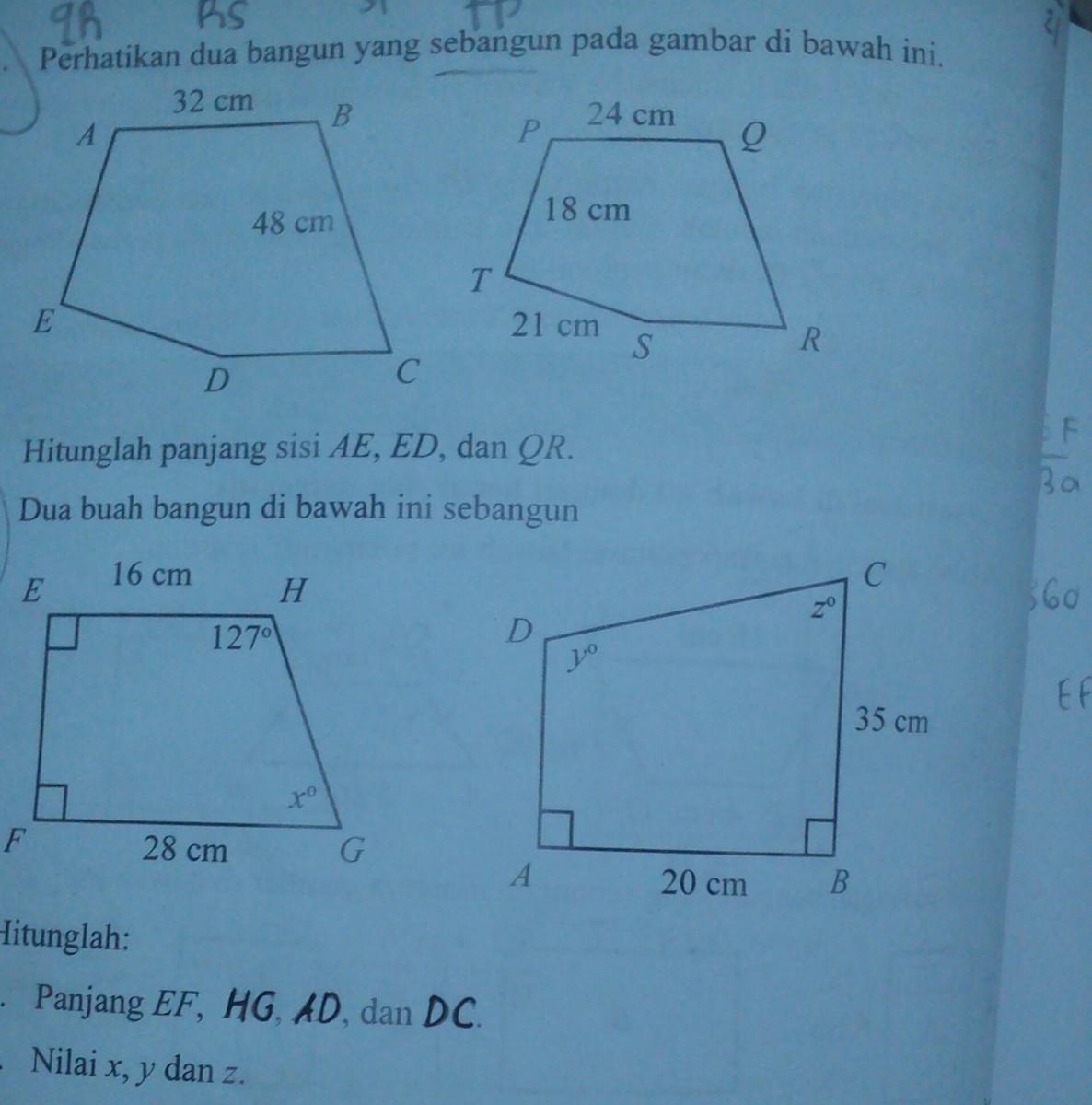 1) perhatikan dua bangun sebangun pada gambar hitunglah ...