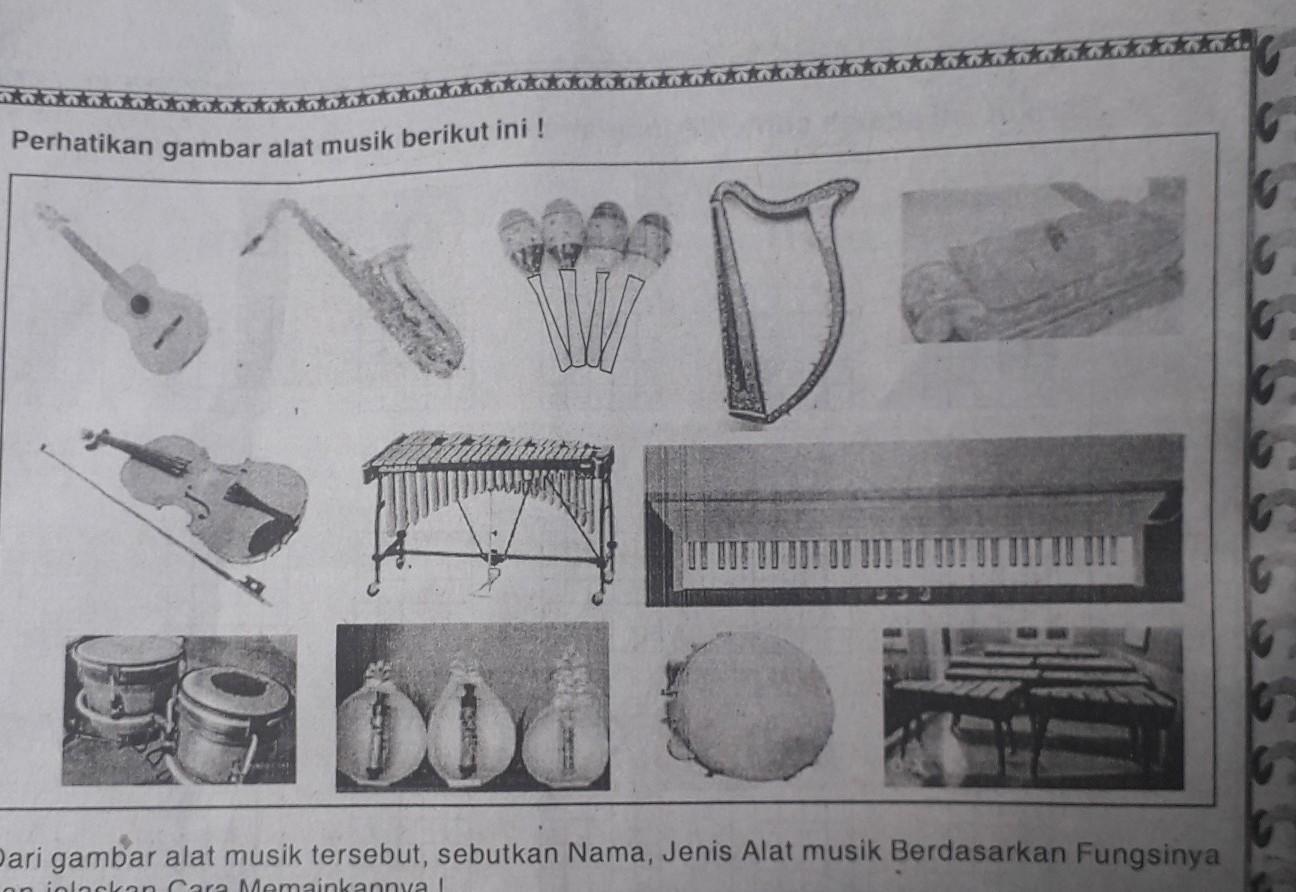 Dari gambar alat musik tersebut, sebutkan Nama, Jenis Alat musik ...