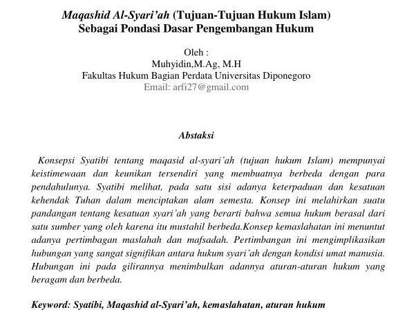 Jelaskan Tujuan Hukum Islam Kaitkan Dengan Maqasid Shariah