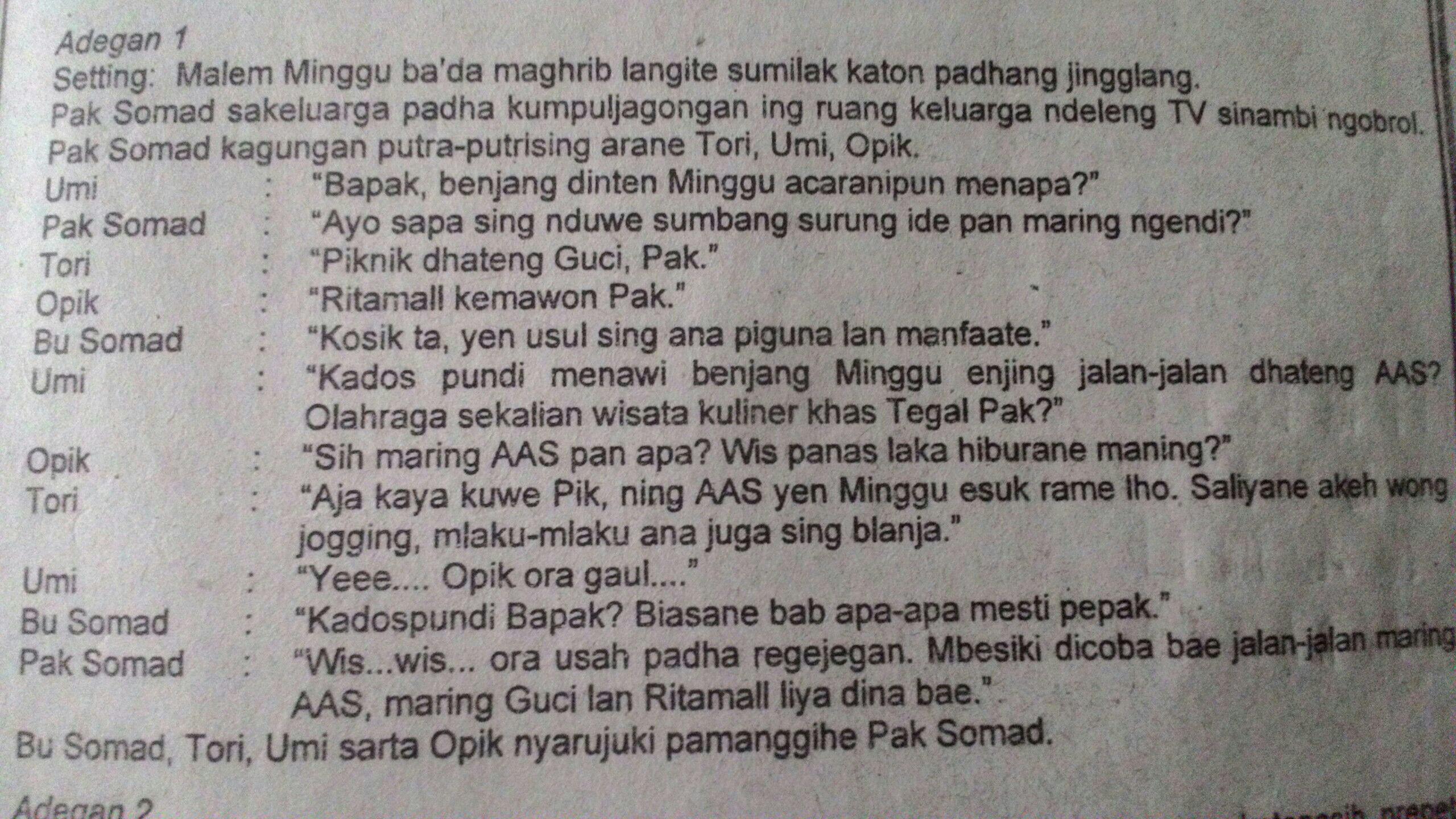 Dialog Bahasa Jawa Yang Terdiri Dari 5 Orang Brainly Co Id
