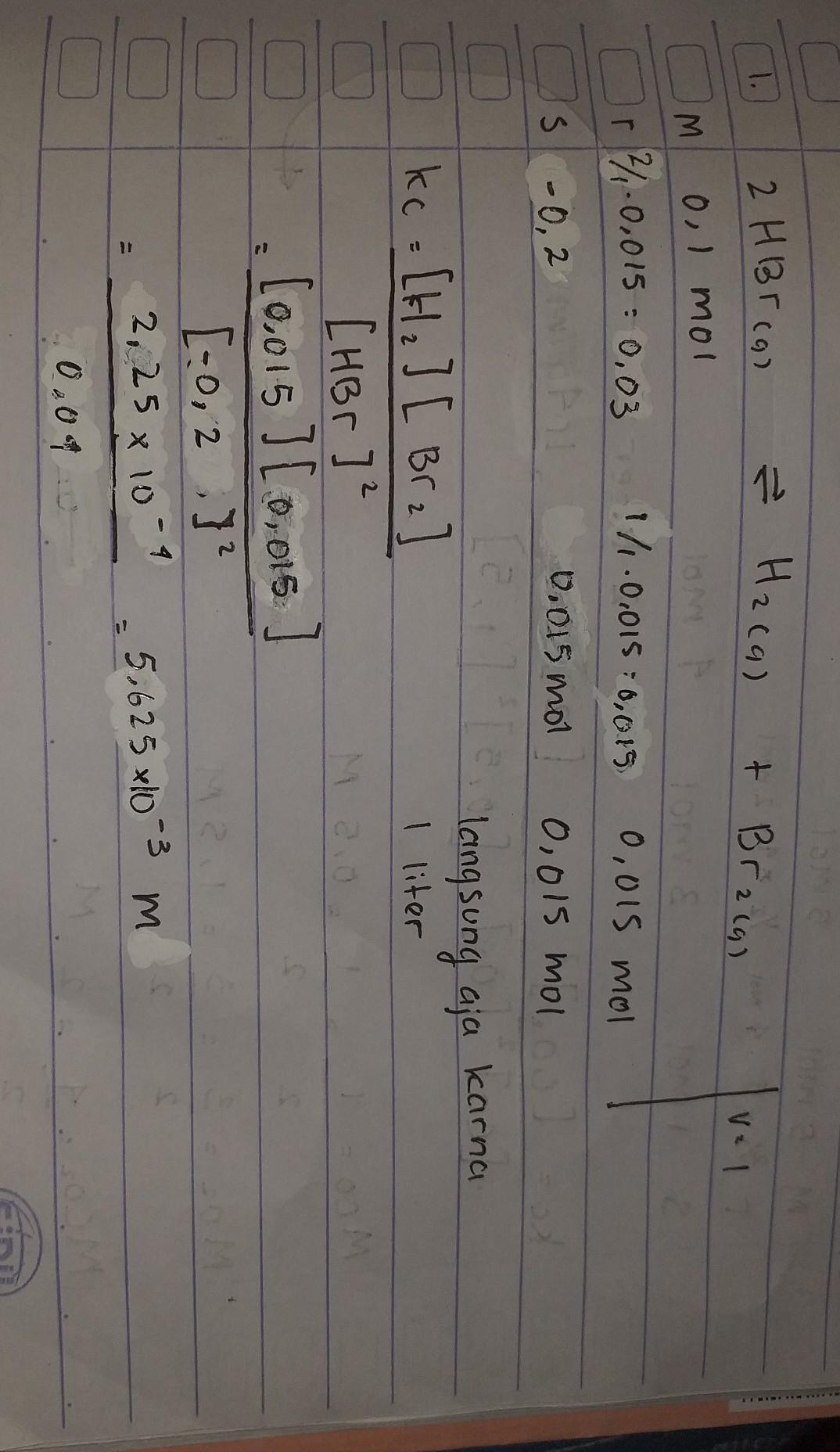 sebanyak 0,1 mol HBr dimasukan kedalam labu 1 liter dan ...