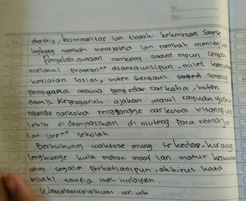 Tolong Pidato Bahasa Jawa Pendek Tema Bahaya Narkoba