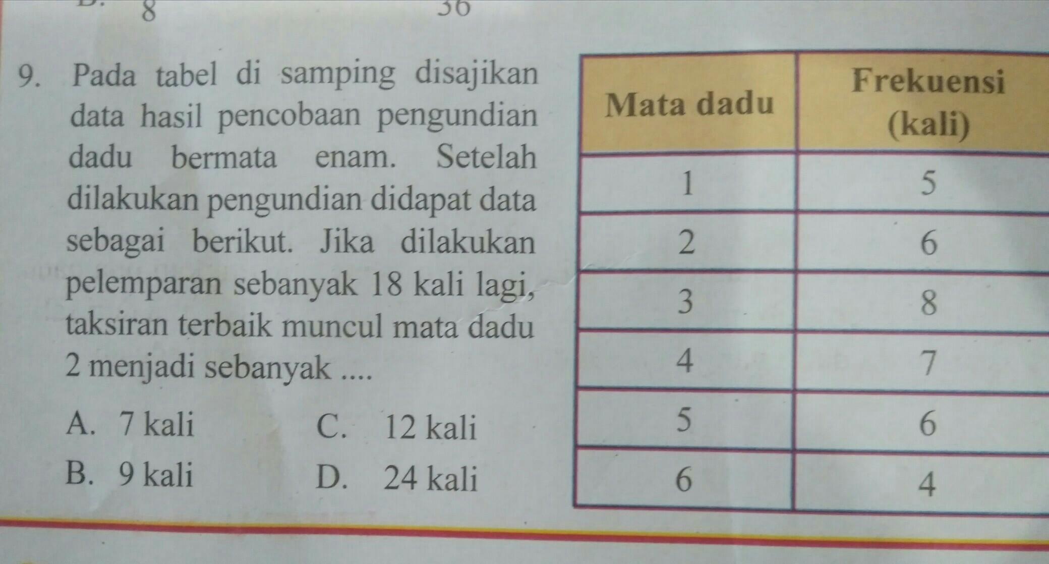 Pada Tabel Disamping Disajikan Data Hasil Percobaan Pengujian Dadu