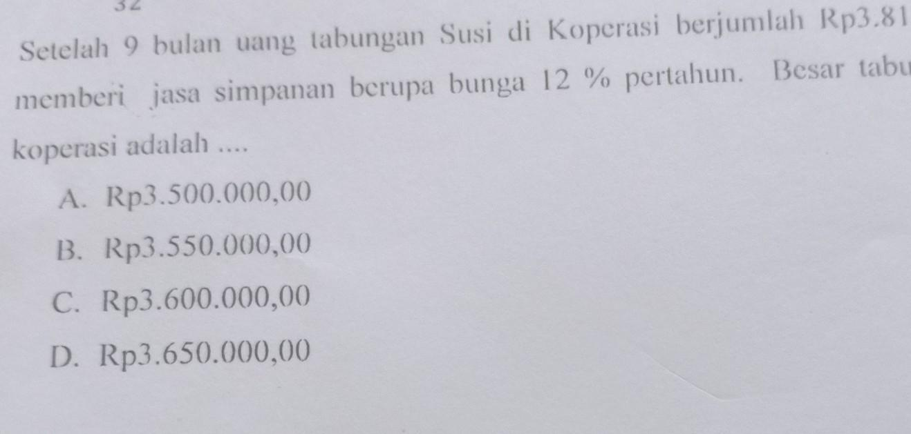 Setelah 9 Bulan Uang Tabungan Susi Di Koperasi Berjumlah Rp 3 815 000 00 Koperasi Memberi Jasa Brainly Co Id