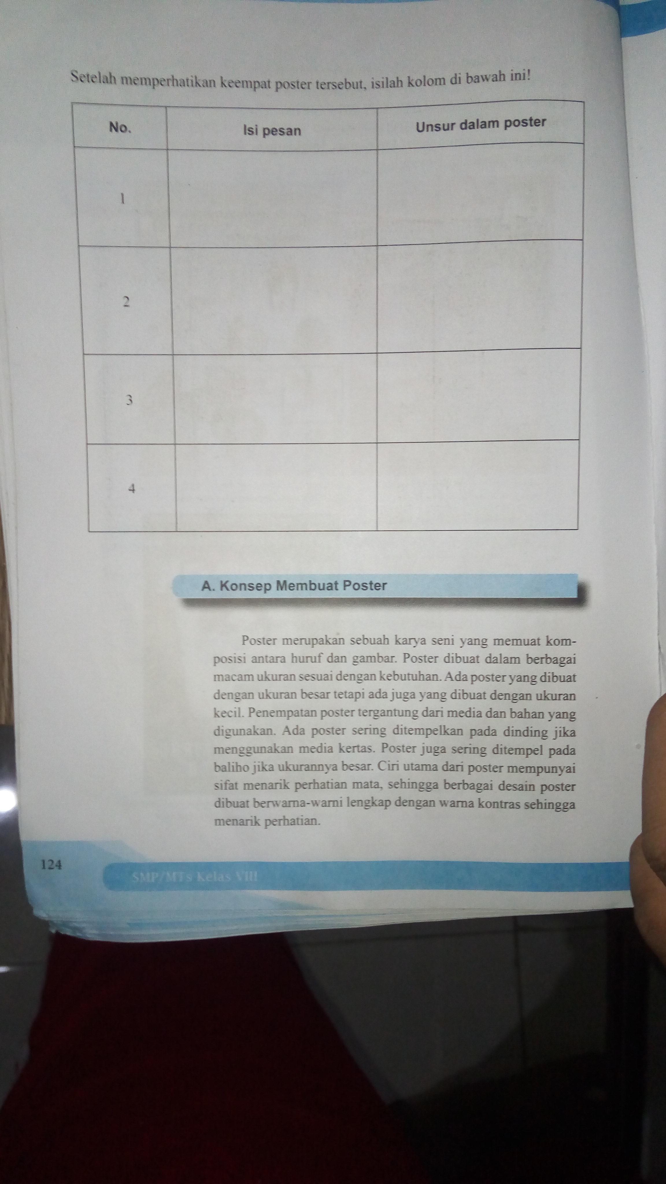 Jawaban Buku Paket Senibudaya Kelas 8 Halaman 124 Brainly Co Id