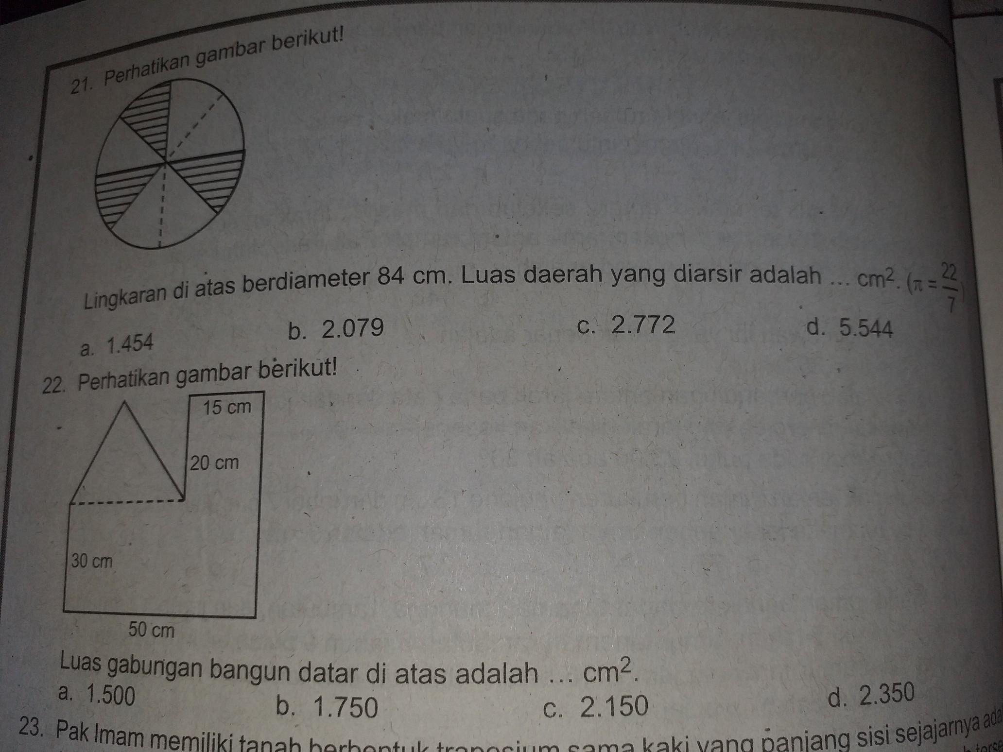21 Lingkaran Di Atas Berdiameter 84 Cm Luas Daerah Yang Diarsir Adalah Cm2 22 Luas Brainly Co Id