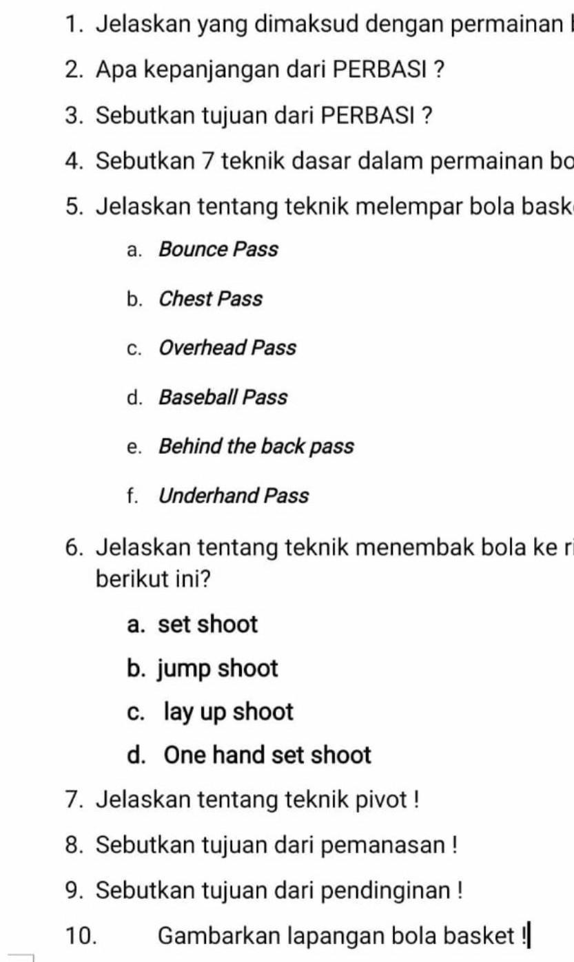 Jelaskan Tentang Teknik Menembak Bola Ke Ring Basket Berikut Ini A Set Shoot B Jump Shoot C Lay Up Brainly Co Id