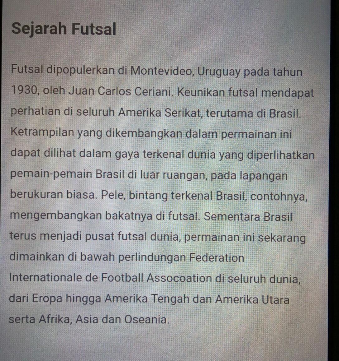 Sejarah Singkat Permainan Futsal Brainly Co Id