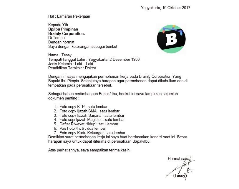 Sistematika penulisan surat lamaran pekerjaan - Brainly.co.id