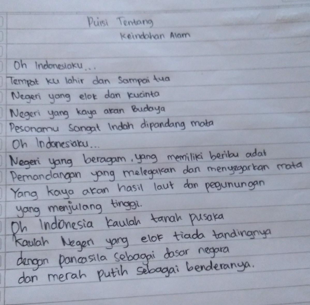Tuliskan Contoh Puisi Tentang Keindahan Alam Indonesiaplis Jawab Aku Buru Buru Brainly Co Id