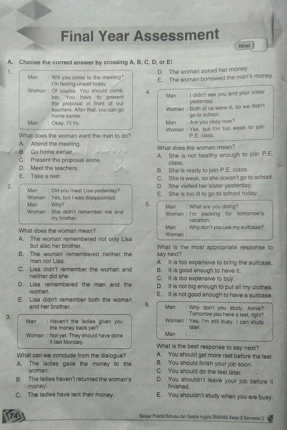 Mintak Kunci Jawaban Final Year Assessment Kelas 10 Semester 2