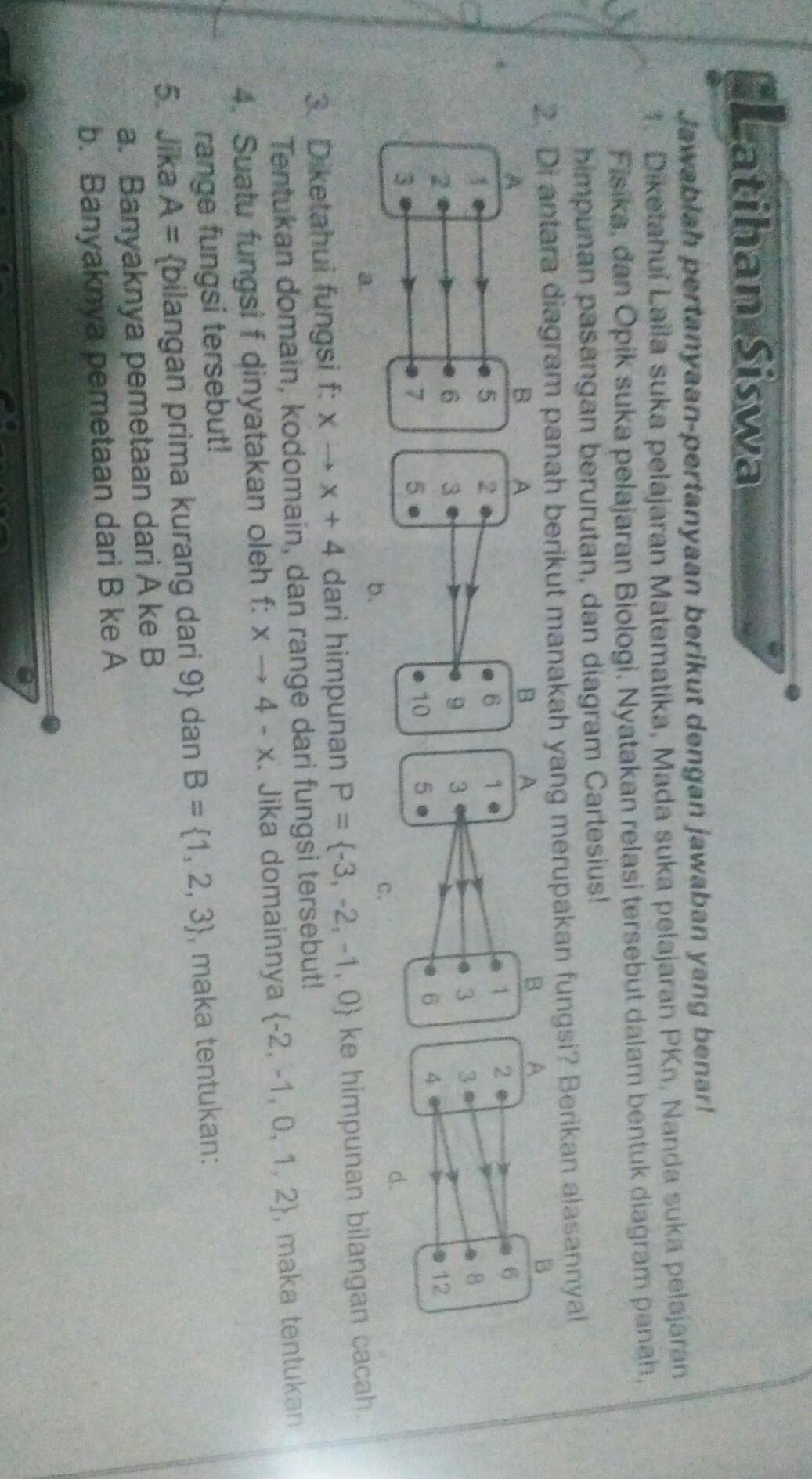 Diantara diagram panah berikut manakah yang merupakan fungsi diantara diagram panah berikut manakah yang merupakan fungsi berikan alasanya ccuart Images