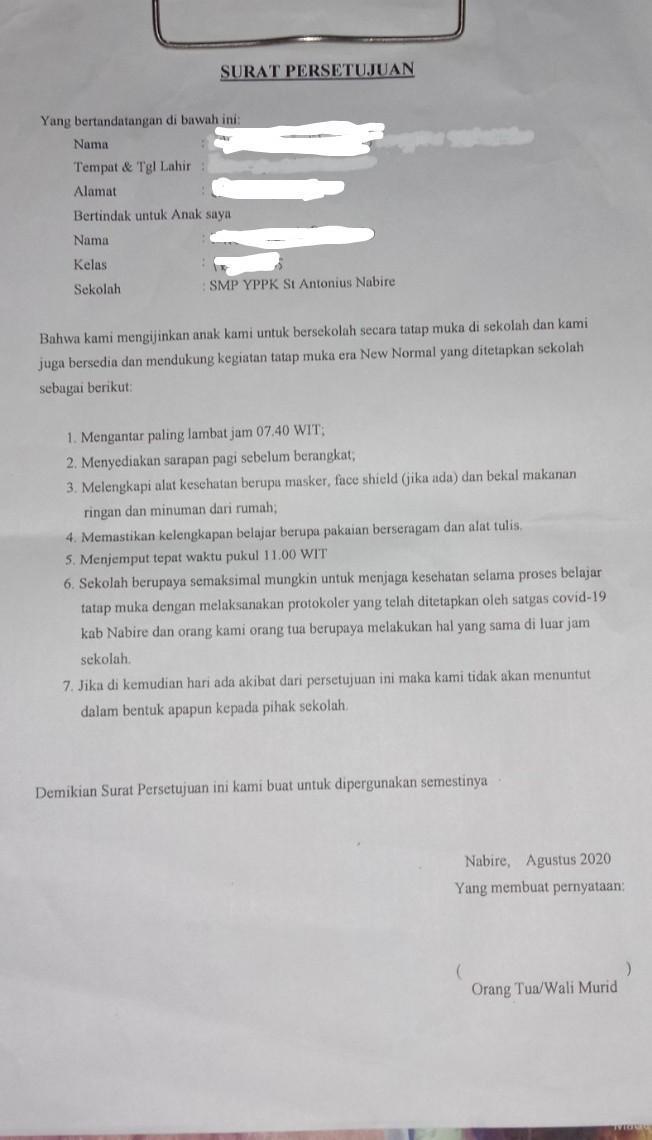 Contoh Surat Izin Orang Tua Memperbolehkan Anaknya Sekolah Tatap Muka Dalam Pandemi Ini Brainly Co Id
