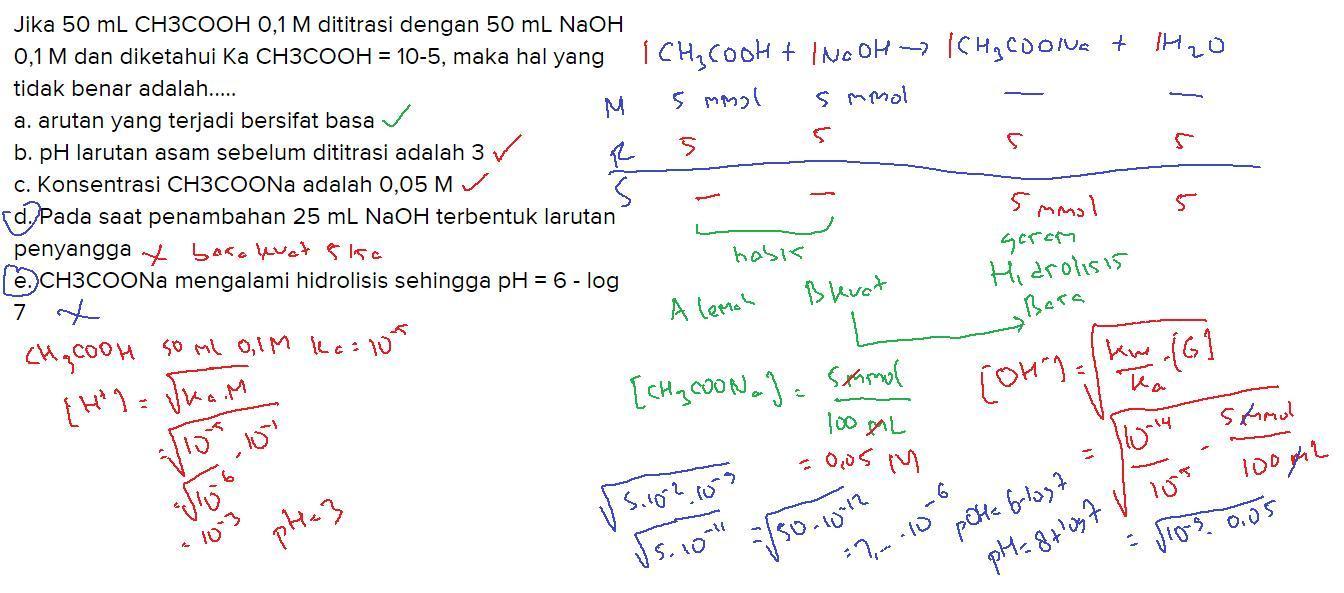 Jika 50 mL CH3COOH 0,1 M dititrasi dengan 50 mL NaOH 0,1 M ...