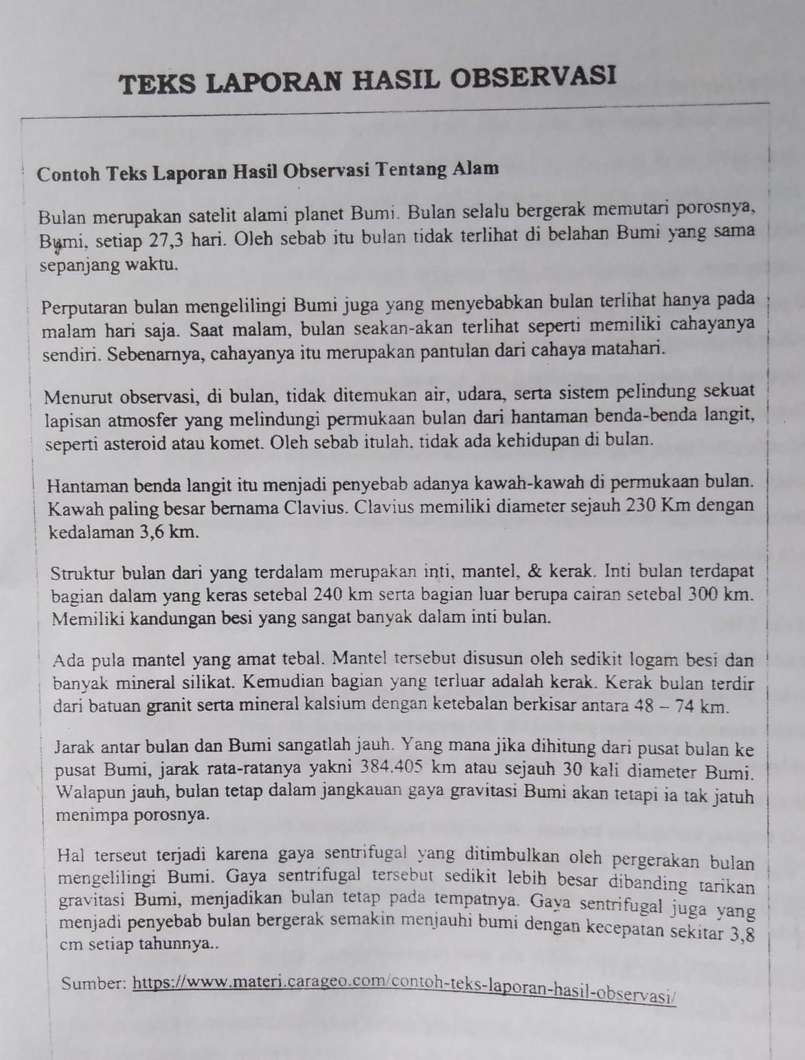 Contoh Laporan Deskripsi Singkat