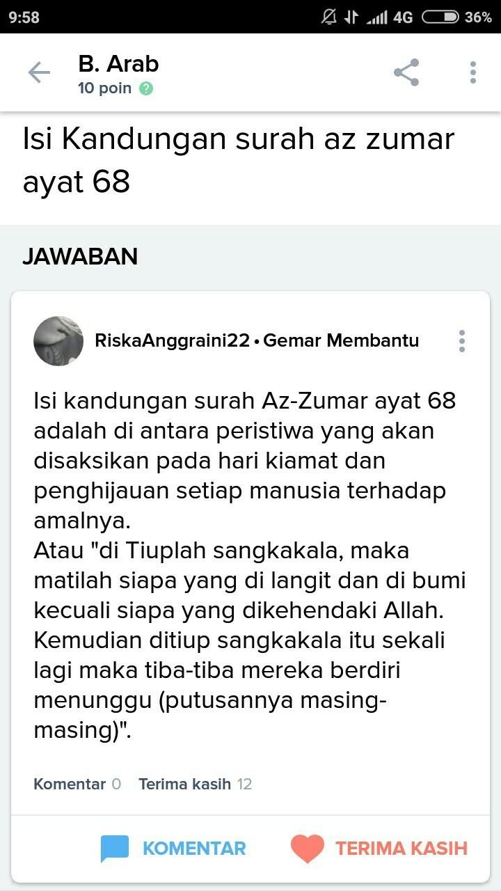 Jelaskan Isi Kandungan Q S Az Zumar Ayat 68 Brainlycoid