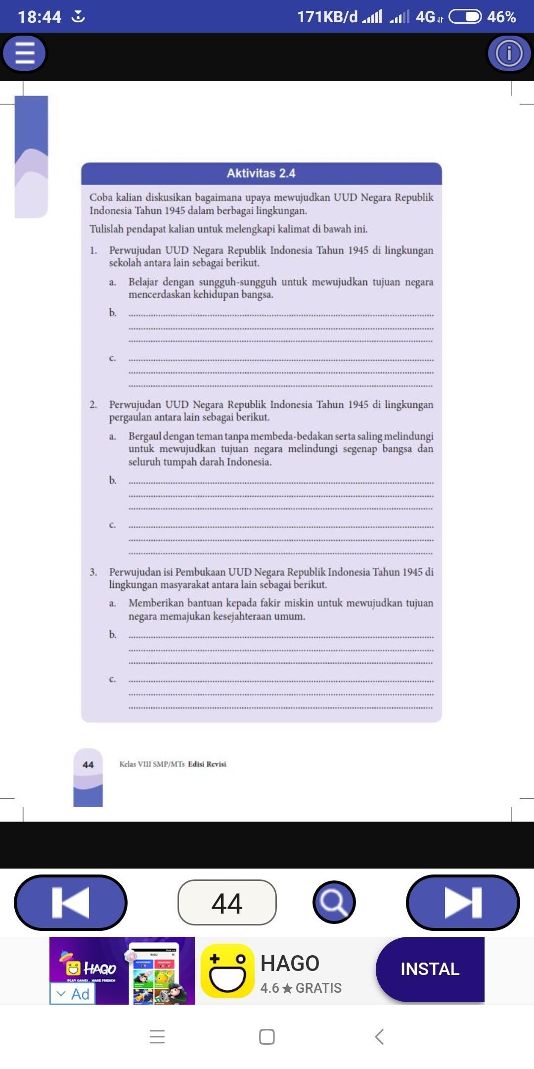 Tolong Dijawab Yah Aktivitas 2 4 Pkn Kelas 8 Semester 1 Brainly