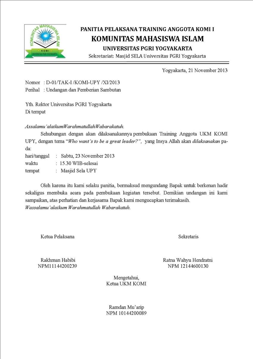 Contoh surat dinas dalam bentuk undangan - Brainly.co.id