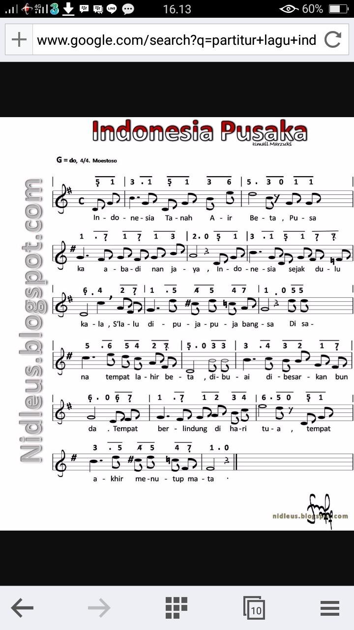Partitur Lagu Indonesia Pusaka Not Balok G Do 4 4 Maestoso Brainly Co Id