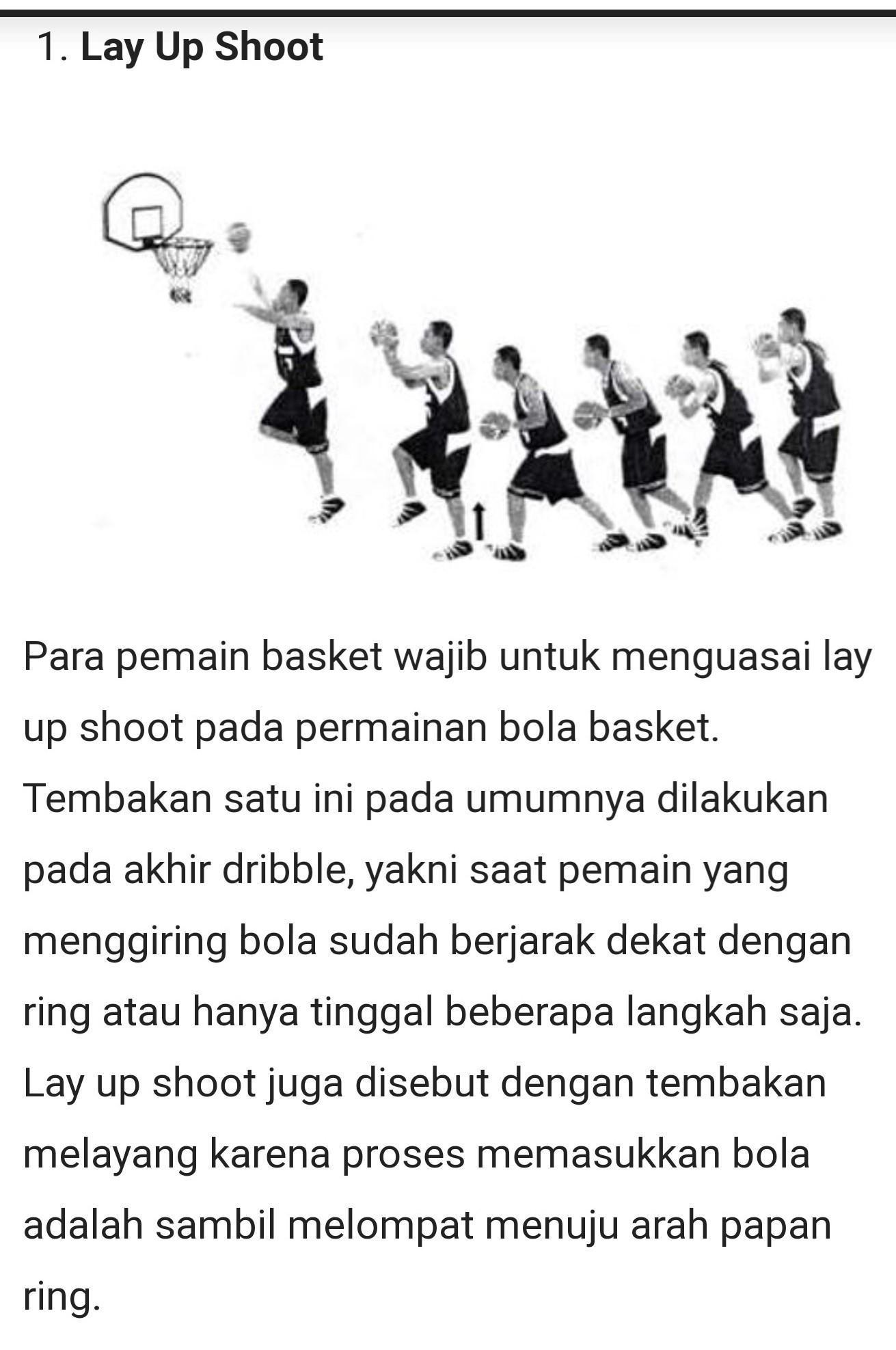 Eh Tembakan Bola Basket Sambil Melompat Dengan Posisi Dekat Dgn Ring Tu Lay Up Apa Jump Shoot Plis Brainly Co Id