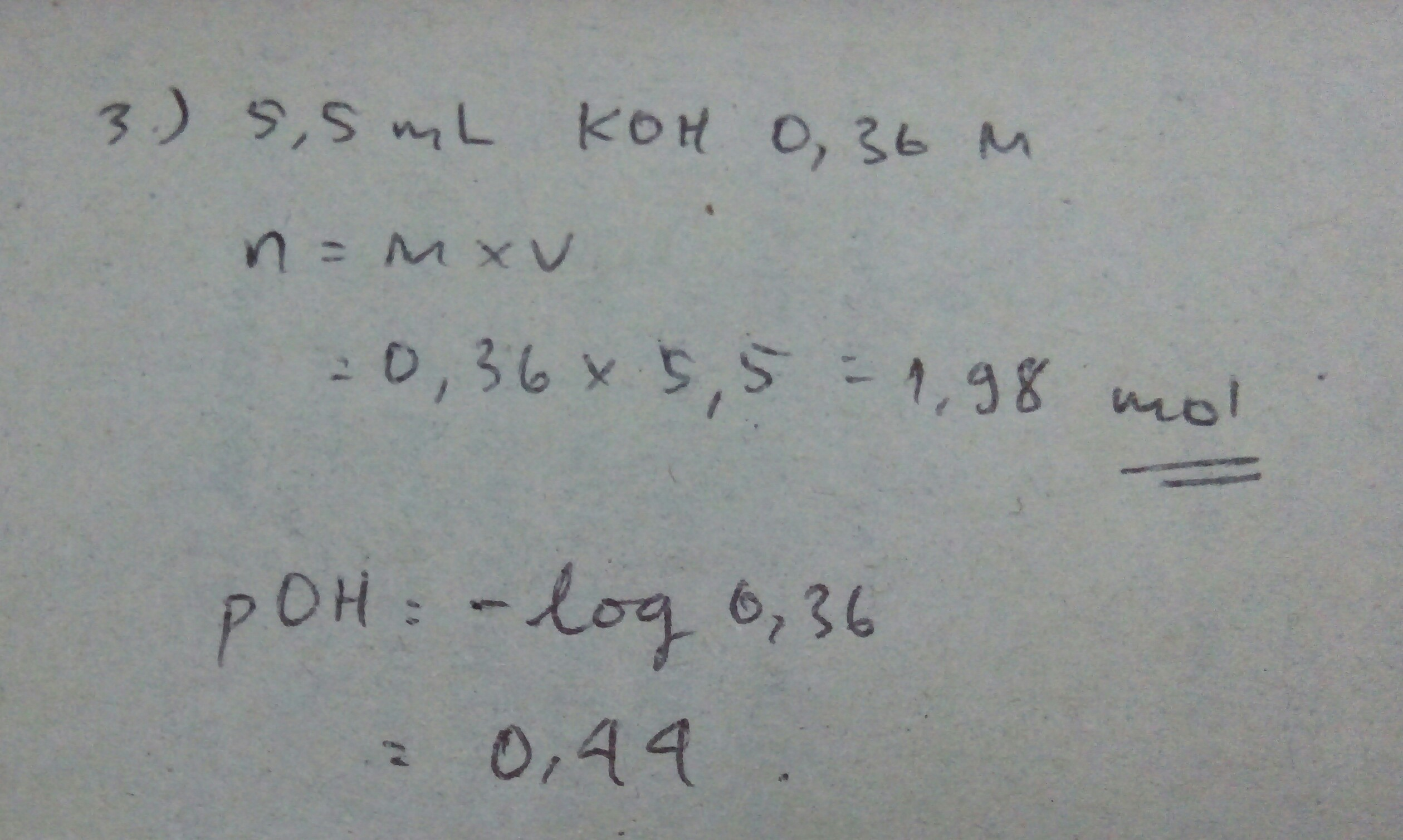 Hitunglah jumlah mol KOH dalam 5,50 mol larutan koh 0, 360 ...