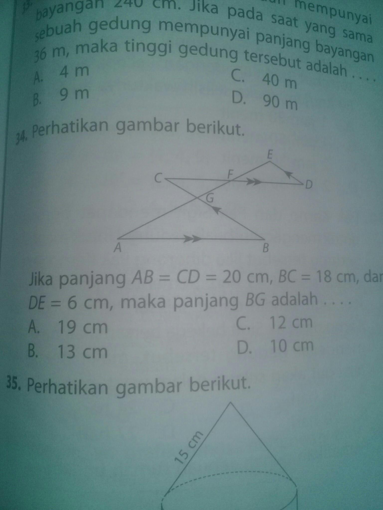 Perhatikan gambar berikut jika panjang AB = CD = 20 cm BC ...
