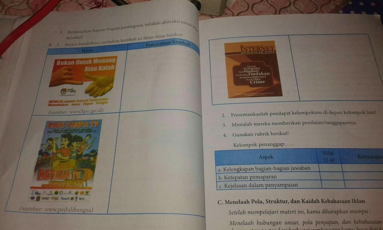kegiatan 2.5 bagian B bahasa indonesia kelas 8 - Brainly.co.id