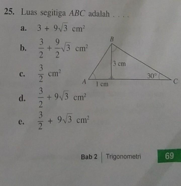 Luas Segitiga Abc Adalah Materi Trigonometri Tolong Bantuuuuuuuuuuuu Brainly Co Id