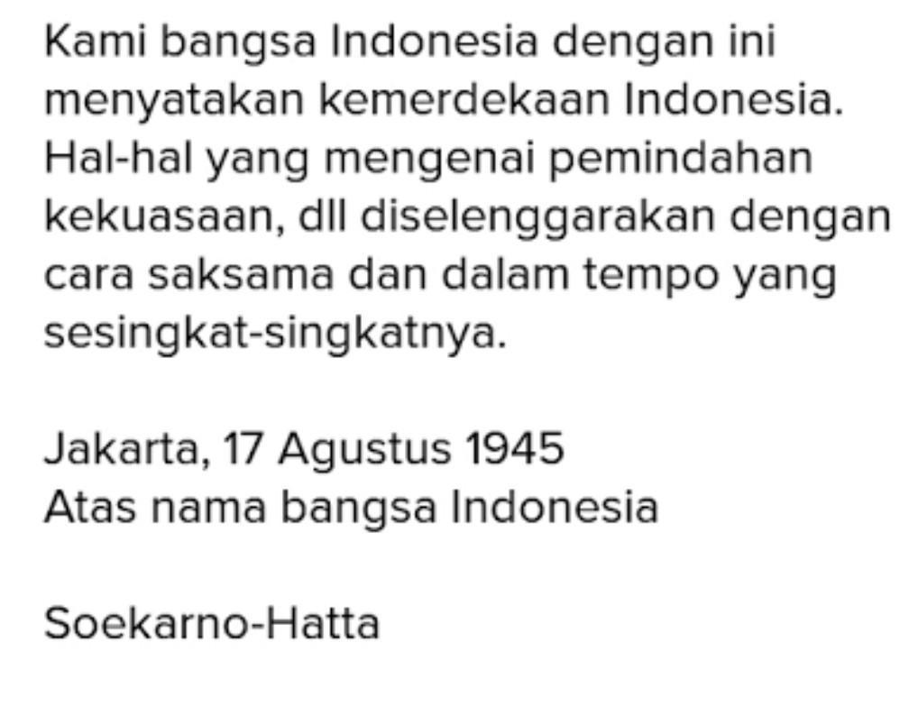 Tuliskan Teks Proklamasi Kemerdekaan Negara Indonesia Secara Benar Dan Tepat Brainly Co Id