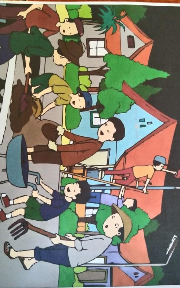 Gambar Kerja Bakti Di Lingkungan Sekolah Kartun 150 Gambar Ilustrasi Kerja Bakti Di Sekolah Gambarilus