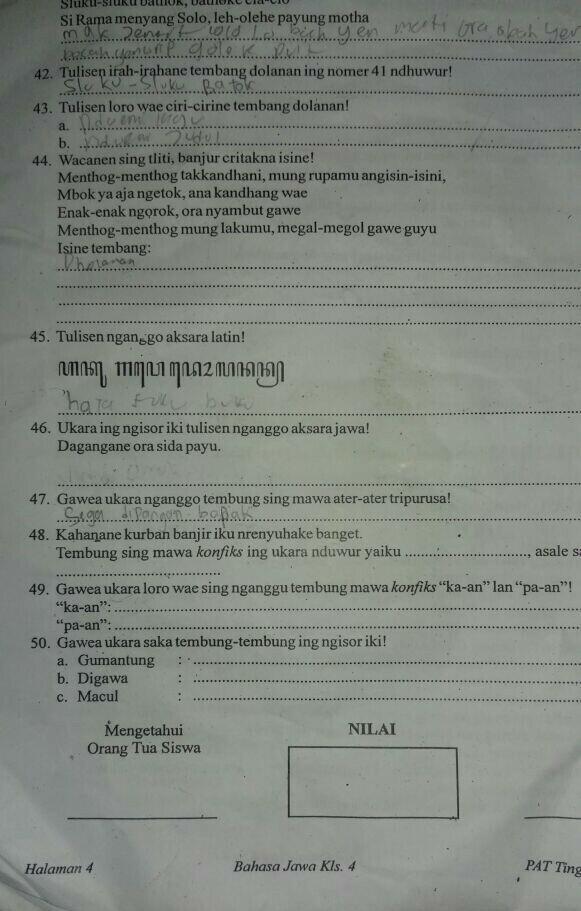 Bahasa Jawa Kelas 4 Sd Bantu Ya Kakak Buat Adek Saya Brainly Co Id