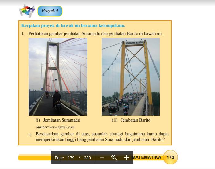 1. Perhatikan gambar jemabatan Suramadu dan jembatan ...
