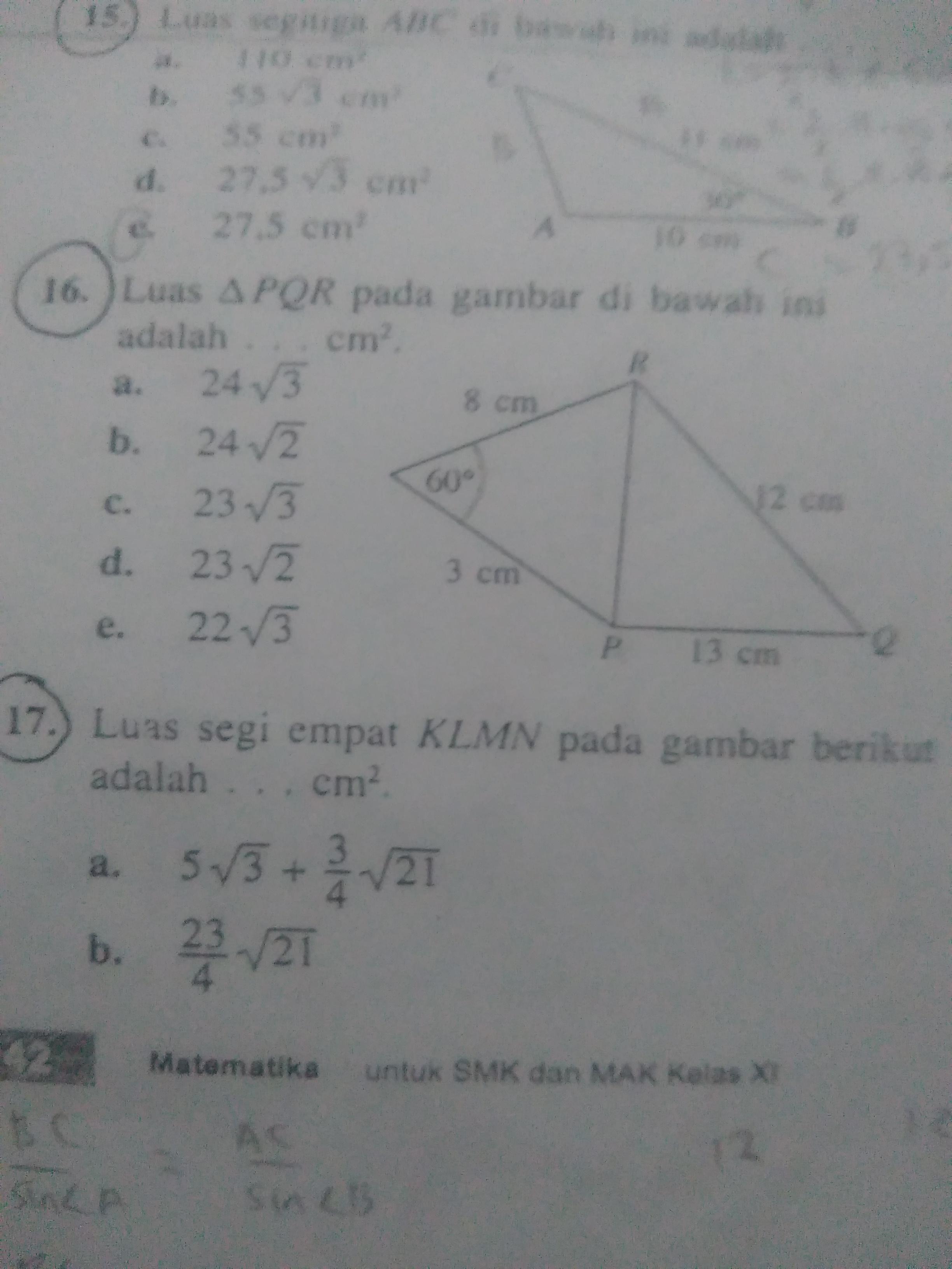 Luas segitiga PQR pada gambar di bawah ini adalah (no. 16 ...