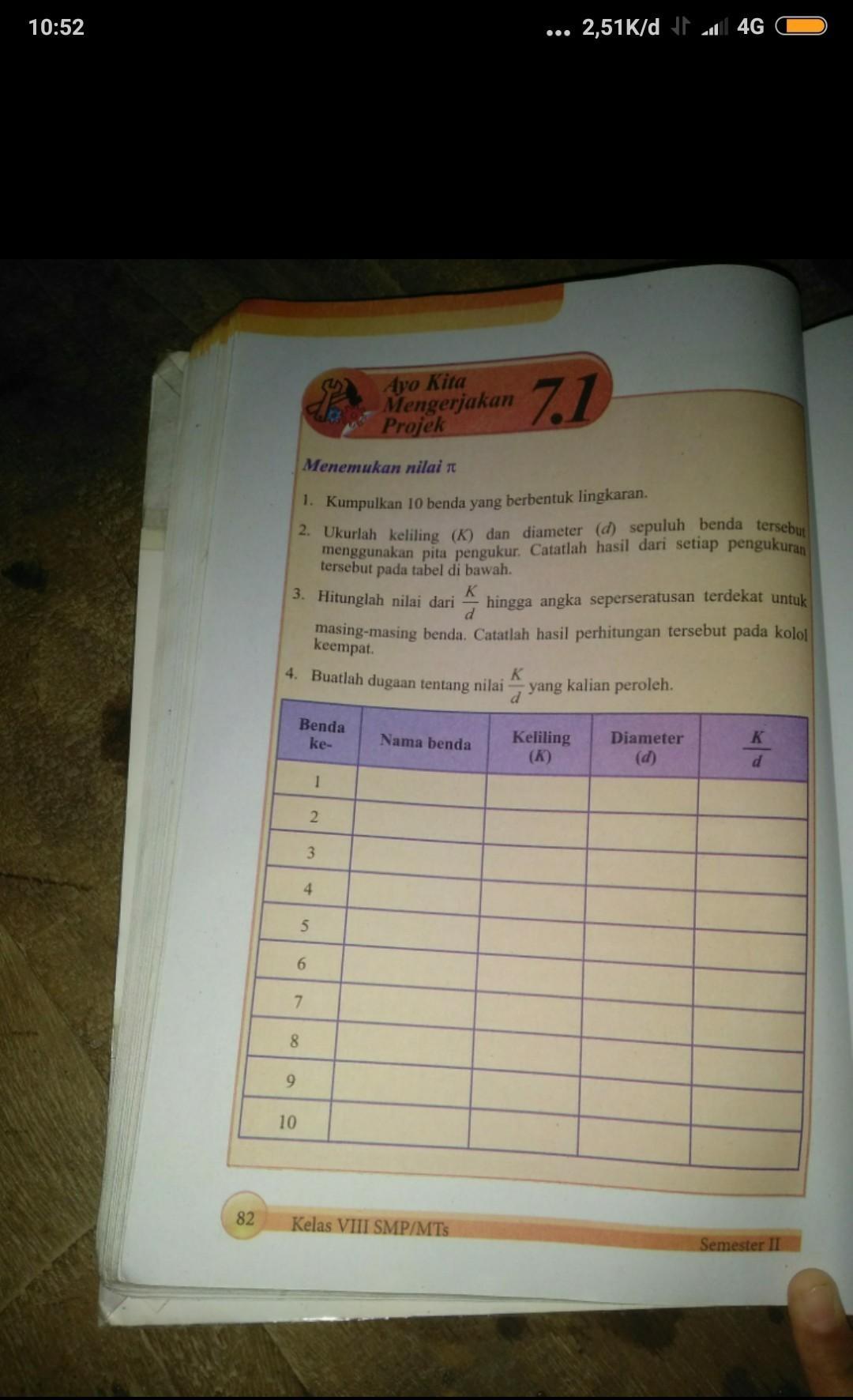 Pliss Bantu Jawab Dengan Benar Yah Lt Br Gt Materi Kelas 8 Semester 2 Halaman 82 Proyek 7 1 Brainly Co Id