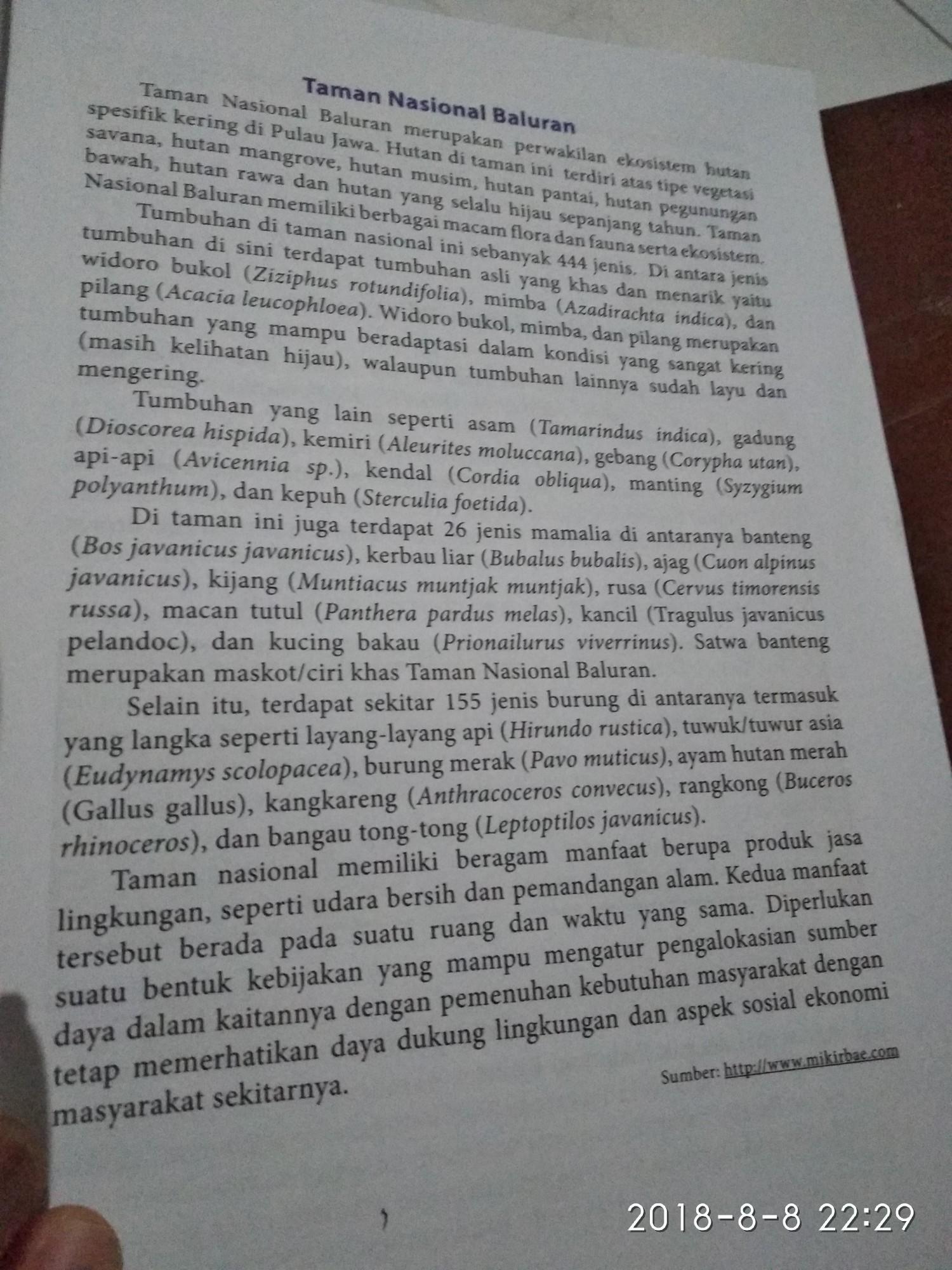 Taman Nasional Baluran Frasa Verba Atau Nomina Dari Teksjawab Dong