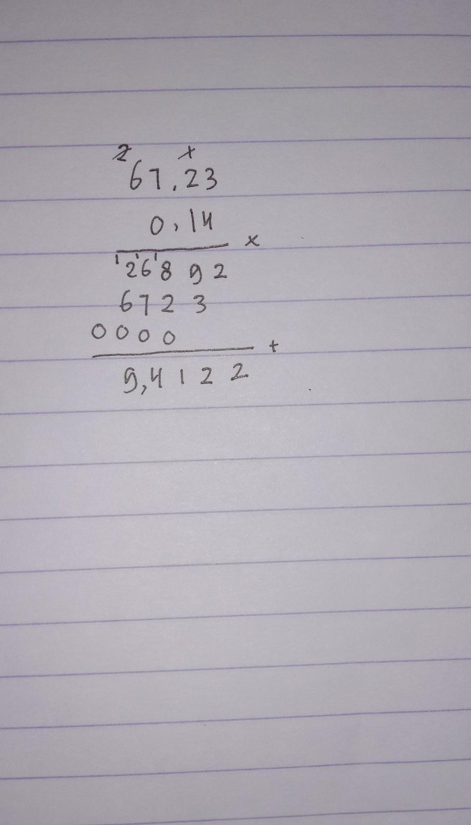 67,23 x 0,14:kalo bisa tulis dibuku - Brainly.co.id