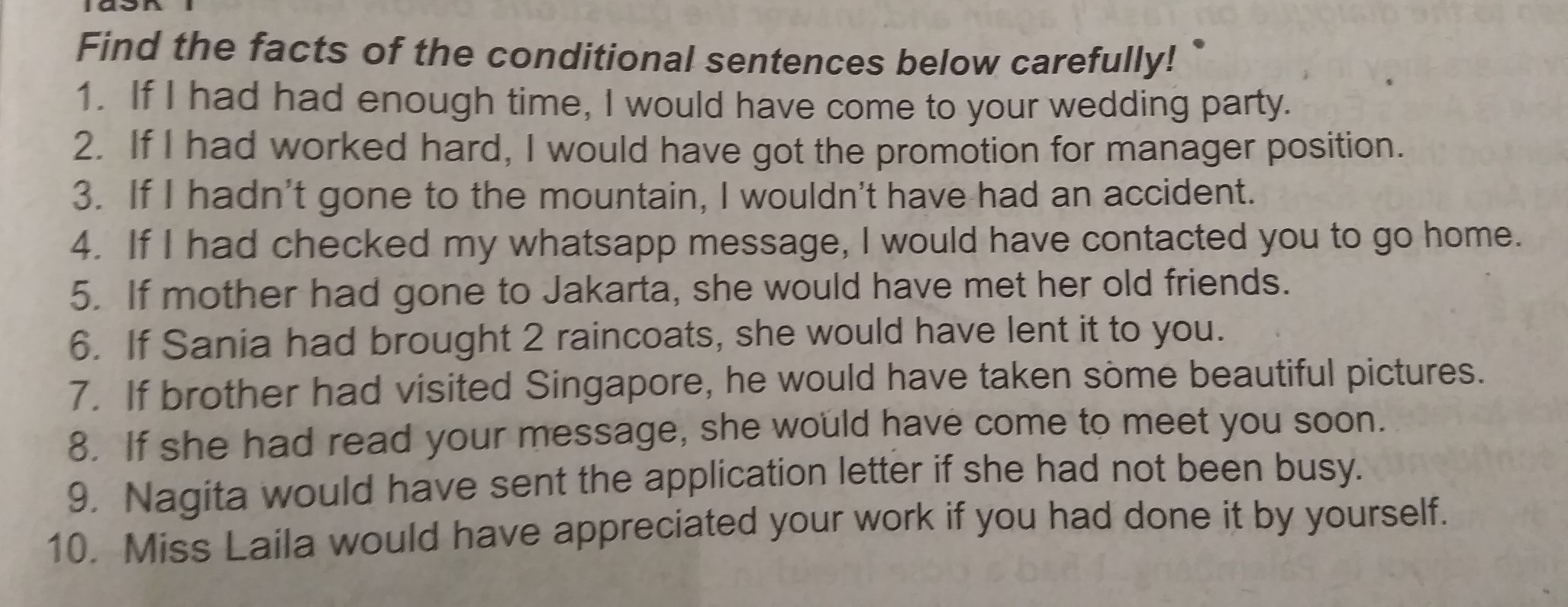 Find The Fact Of The Conditional Sentence Below Carefully Brainly