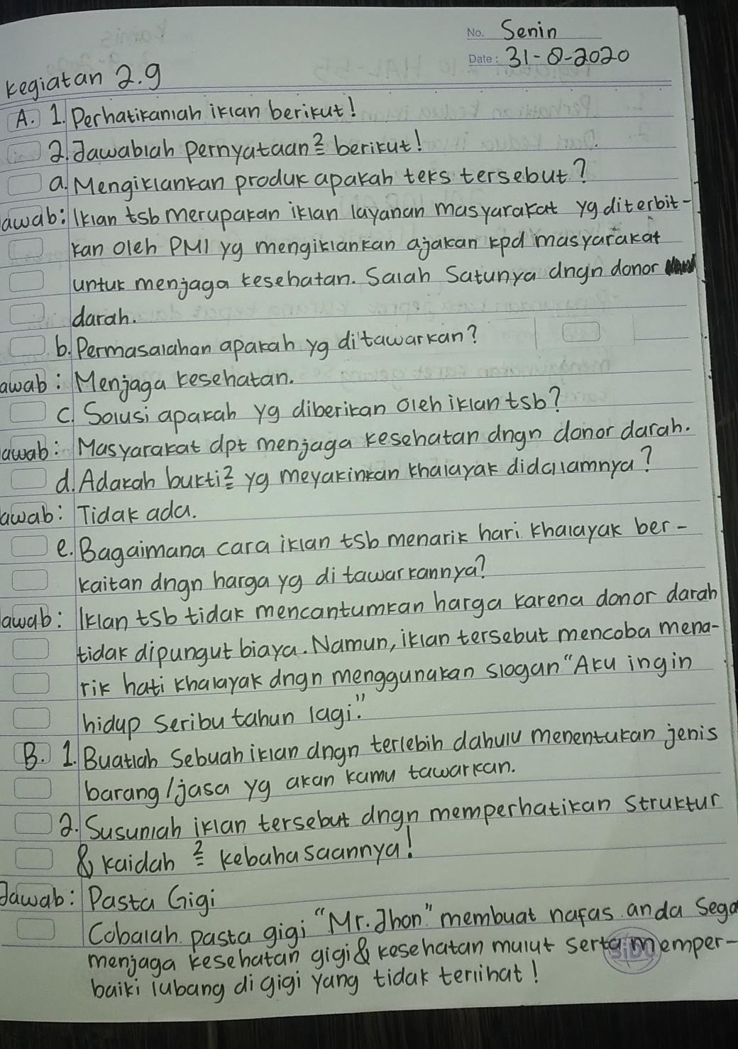Kunci Jawaban Bahasa Indonesia Kelas 7 Paket Halaman 54 Sampai 56 Brainly Co Id