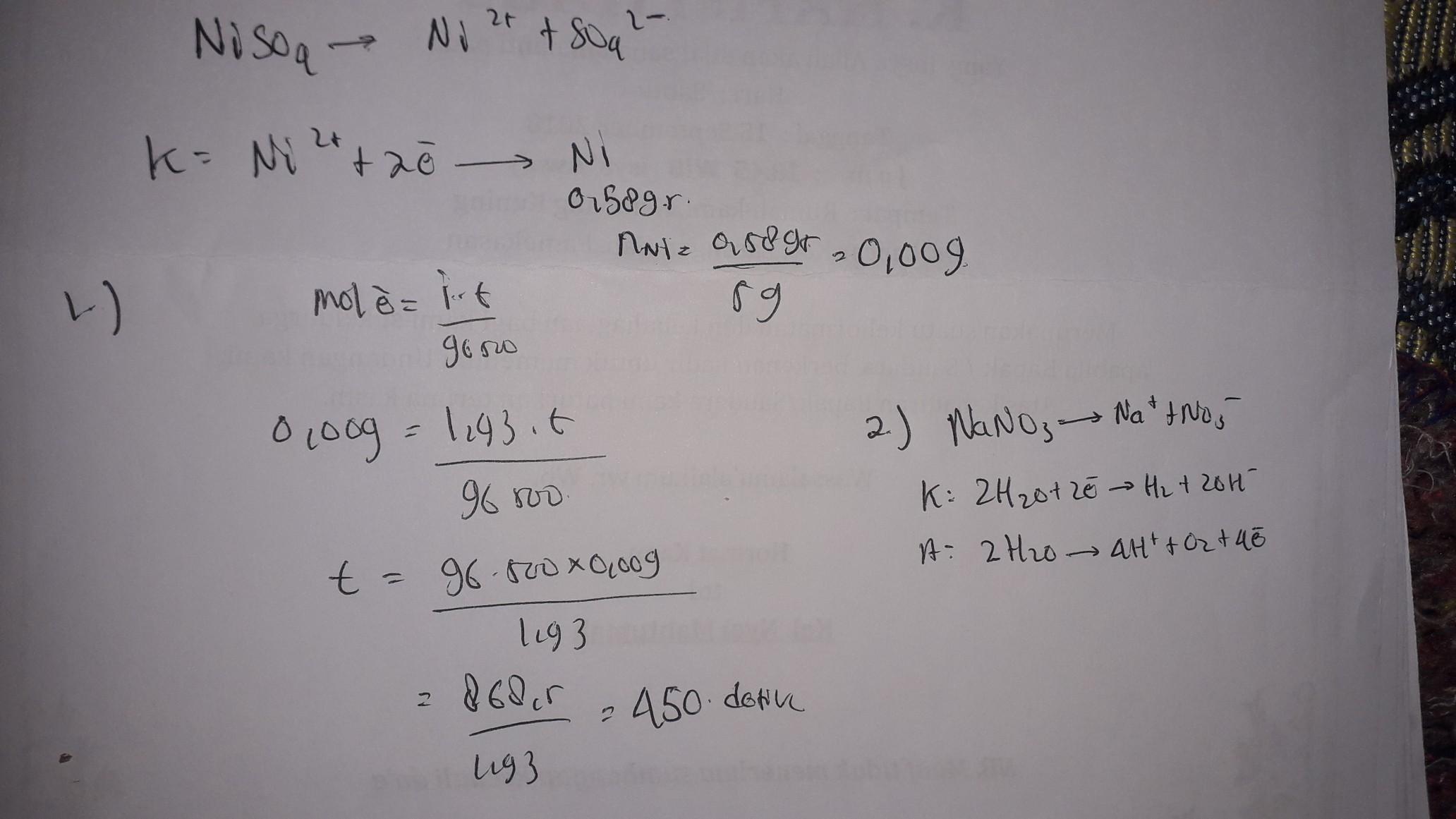 1. larutan NiSO4 di elektrolisis dengan arus 1,93 ampere ...
