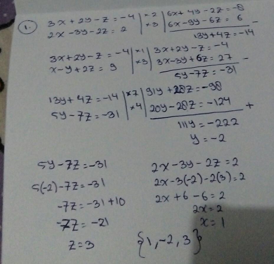 1 Diketahui Sistem Persamaan Berikut 3x 2y Z 4 2x 3y 2z