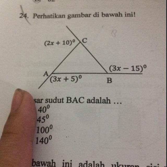 Perhatikan gambar di bawah ini! Besar sudut BAC adalah ...