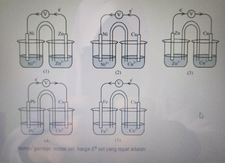 Perhatikan Gambar Rangkaian Sel Volta Berikut Nomor Gambar Notasi Sel E Yang Tepat Adalah Brainly Co Id